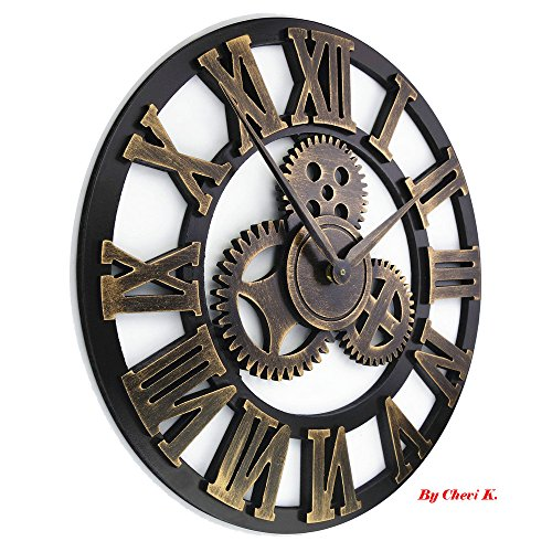 16″ Round Wall Clock, Antique Handmade Wooden Vintage 3D Gear Design, By Chevy K. (Gold with Roman Numerals)