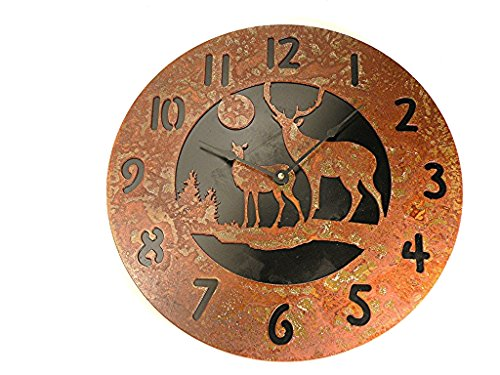 Wall Clock Deer Family Rustic Rusted Metal Black Back Plate 12″ Quartz Movement Accurate to +/- one second per day Use 1 AA batteries (NOT INC)