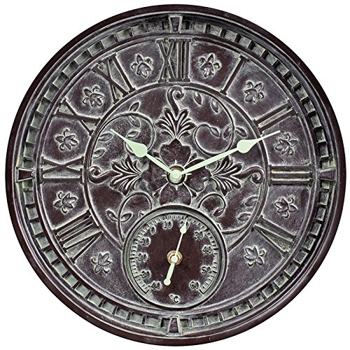 Rustic Antique Verdigris Outdoor Wall Clock and Thermometer 14″