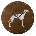 Greyhound Silhouette Rustic Large Clock