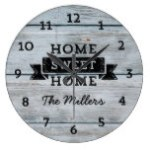 Personalize Name Pale Wood Rustic Home Sweet Home Large Clock