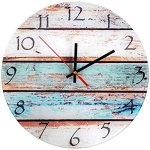 Grazing 12″ Vintage Arabic Numerals,Shabby Beach Beachy Boards Design ,Ocean Colors Paint Printed Image, Rustic Mediterranean Style,Home Decorative Round Glass Wall Clock (Glass-sky)