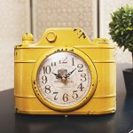 YOURNELO Retro Mock Camera Silent Desk Shelf Clock Decorative Ornaments (Yellow)