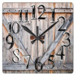 313, Cabin, Old Barn Door Print Square Wall Clock