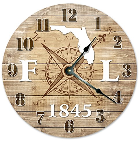 FLORIDA CLOCK Established in 1845 Decorative Round Wall Clock Home Decor Large 10.5″ COMPASS MAP RUSTIC STATE CLOCK Printed Wood Image