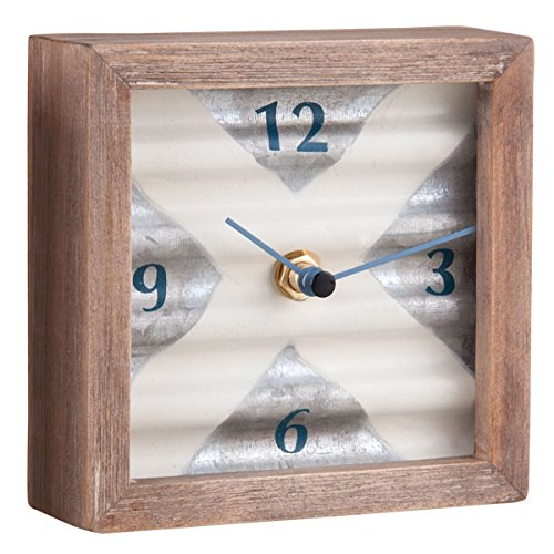 Foreside FCTT00273 Corrugated Galvanized Tabletop Clock, Silver