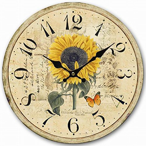 12-inch Decorative Clock, Eruner Wooden [Sunflower] Cafe Bar Lancaster Paris Wall Clock Retro Styled Non-Ticking Home Decor (HQ5)