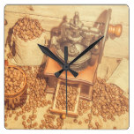 Rustic country coffee house still square wall clock