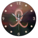 Supportive Rustic Breast Cancer Ribbon Large Clock