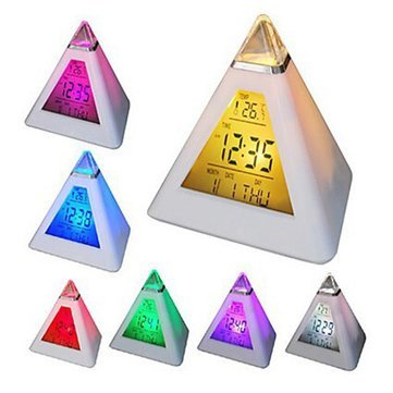 Walid-Changing Pyramid Colorful clock Digital LED Alarm Clock Calendar Thermometer Time