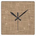 Chic Coffee Brown Faux Jute Weave Fabric Pattern Square Wall Clock