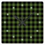 Cool Green Black Lumberjack Tartan Squares Pattern Square Wall Clock