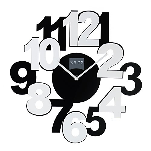 Frameless Wall Clock – Contemporary Styled Overlapping and Alternate Black & White Colors