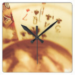 Love of whisky and card games square wall clock