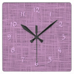 Pretty Cute Lavender Pink Faux Jute Fabric Pattern Square Wall Clock