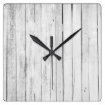 Rustic Black and White Wood Panel Farm Square Wall Clock