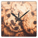 Rustic chocolate chip cookie snack square wall clock