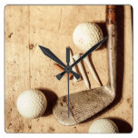 Rustic golf club memorabilia square wall clock