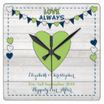 Rustic Wedding Day Wall Clock Navy and Lime green
