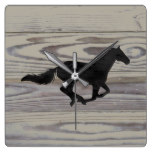Rustic Wood Galloping Horse Watercolor Silhouette Square Wall Clock