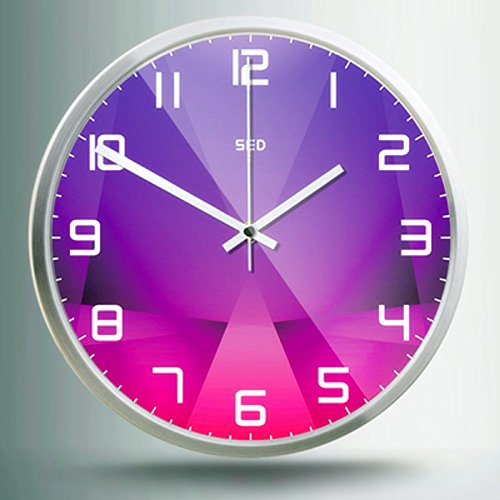 Color Map 12-Inch Large Digital Modern Colorful Stylish Elegant Silent Non-ticking Home Kitchen/Living Room Wall Clock (Purple crystal, Silver)