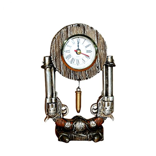 MONTANA WEST DUAL PISTOL GUN SHELF CLOCK WITH BULLET DECOR