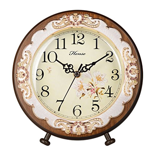 HENSE Victorian Garden Living Room Decorative Desk Clocks Silent Non tick Sweep Second Wooden Table Clock HD10 (Brown)