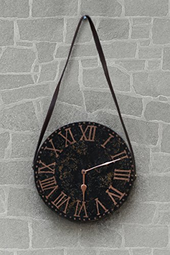 Mothers Day Gift Wooden Bohemian Wall Clock Rustic Country Style Round Decorative Black Brown With Leather Strap 11 Inch