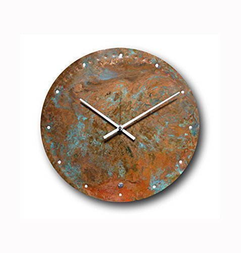 Large Copper Wall Clock 12-inch – Round Decorative Rustic Metal Original – Silent Non Ticking Quartz for Home