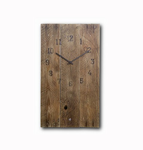 Large Decorative Wall Clock 15-inch – Rectangle Wood Rustic Original – Silent Non Ticking Quartz for Home