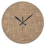 Chic Coffee Brown Faux Jute Weave Fabric Pattern Large Clock