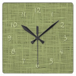 Chic Olive Green Faux Jute Weave Fabric Pattern Square Wall Clock