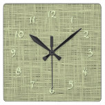 Chic Sage Herb Green Faux Jute Fabric Pattern Square Wall Clock