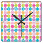 Colorful Button Pattern Fun Pastels Square Wall Clock