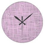 Cute Bright Baby Pink Faux Jute Fabric Pattern Large Clock