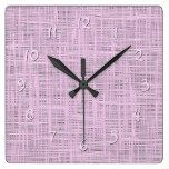 Cute Bright Baby Pink Faux Jute Fabric Pattern Square Wall Clock
