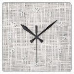 Cute Chic White Gray Faux Jute Fabric Pattern Square Wall Clock