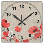 Dandelion and poppy flowers illustration quote square wall clock