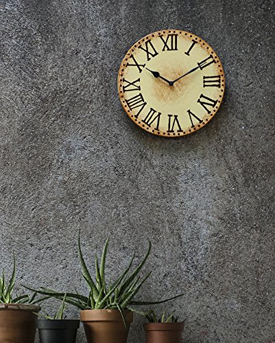 Mothers Day Gift Wooden Wall Clock Victorian Rustic Vintage Style Round Wall Decorative Off-White Sturdy Plastic Shell 11 Inch