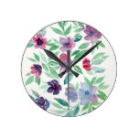 Free Floral – Blue, Purple, Green Vines Greenery Round Clock