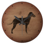 Manchester Terrier Silhouette Natural Ears Rustic Large Clock