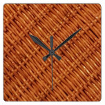 Rustic Brown Wicker Picnic Basket Country Style Square Wall Clock