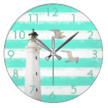 Turquoise white nautical stripes with lighthouse large clock