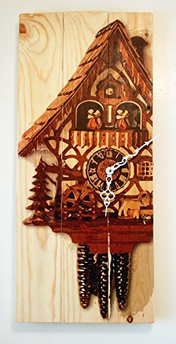Large Wall Clock with Cuckoo Clock Art on Solid Wood Tall 24″ x 11″