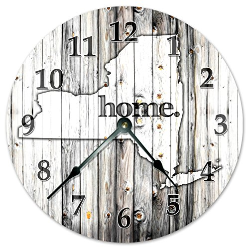 NEW YORK STATE HOME CLOCK Black and White Rustic Clock – Large 10.5″ Wall Clock
