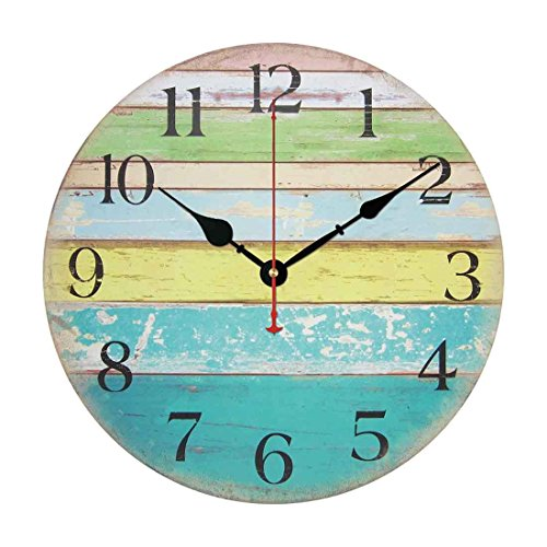 Wall Clock, Yamix Wooden 14″ Silent Wooden Wall Clock Home Decor Room Home Decorative Round Wall Clock Vintage Rustic Country Tuscan Style – Ocean Stripe A