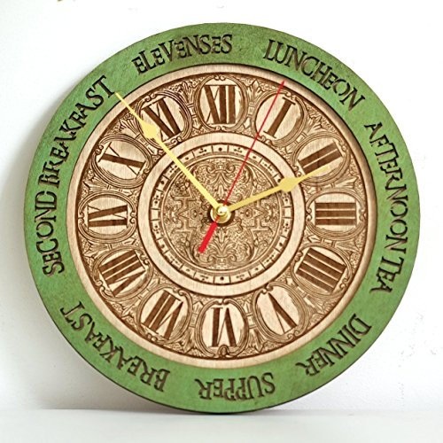 Meal times unique kitchen vintage style decor wooden wall clock emerald green, personalized, housewarming, Victorian, gift, wall decor, Anniversary Gift, meal planning, kitchen clocks wall