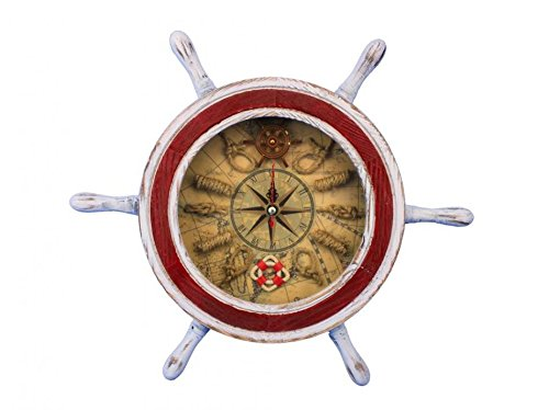Rustic White and Red Ship Wheel Clock 12″ – Decorative Clocks – Nautical Wall D