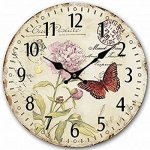 SkyNature 14 Inch Decorative Wooden Wall Clock French Romantic Country Style Silent Non Ticking (Rose Butterfly)