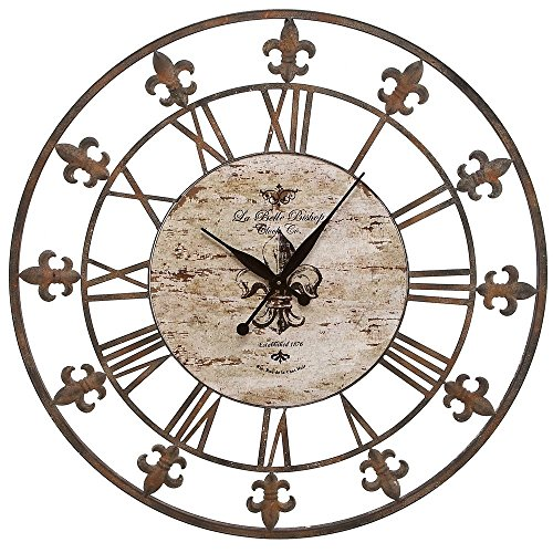 Add a Dash of Elegance to the Walls of Any Room with This Exquisite, Traditional and Rustic Accent Luxuriously Carved Metal 36″ Wall Clock.